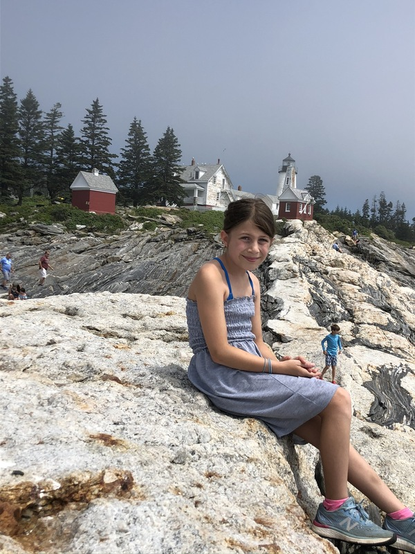 Charlotte at Pemaquid Point Lighthouse