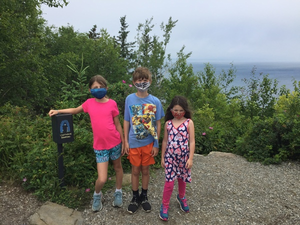 Charlotte, Andrew and Annabelle at Owls Head Lighthouse, Owls Head, ME