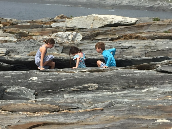Charlotte, Annabelle and Andrew at Pemaquid Point Lighthouse