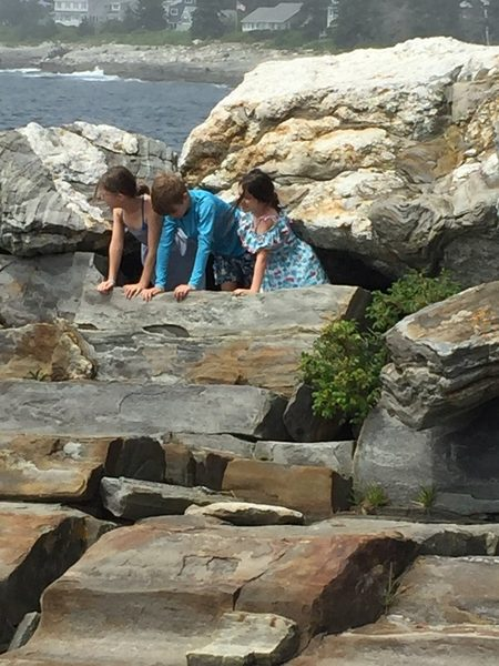 Charlotte, Andrew and Annabelle at Pemaquid Point Lighthouse