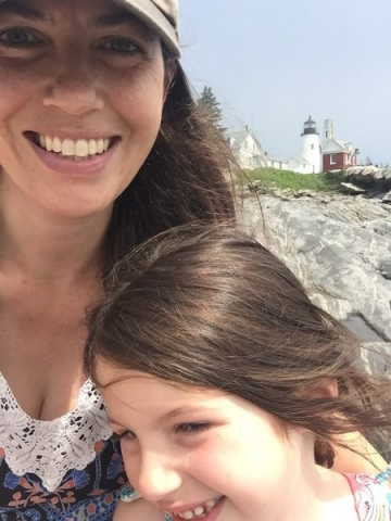 Mom and Annabelle at Pemaquid Point Lighthouse
