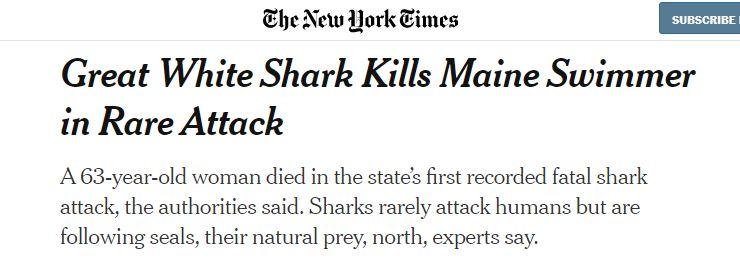 Great White Shark kills Maine swimmer in rare attack