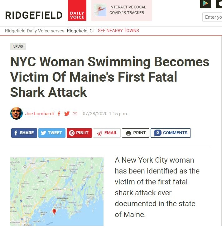 NYC woman swimming becomes victim of Maine's fist fatal shark attack